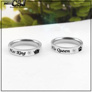Nhẫn cặp đôi inox her king his queen, nhẫn tình nhẫn vua hoàng hậu