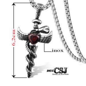 Mặt dây chuyền thánh kiếm, vòng cổ inox thánh giá hình thanh kiếm