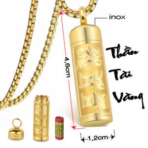 Mặt dây chuyền rổng, vòng cổ hình trụ rổng ruột mạ vàng, dây chuyền thần tài vàng