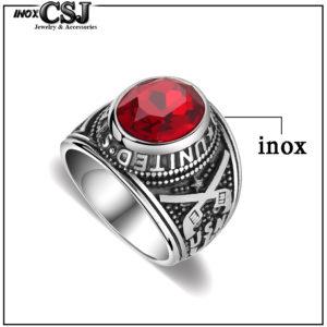 Nhẫn mỹ inox, nhẫn nam kiểu quân đội lính mỹ đá đỏ