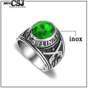 Nhẫn mỹ inox, nhẫn nam kiểu quân đội lính mỹ đá xanh lá