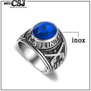 Nhẫn mỹ inox, nhẫn nam kiểu quân đội lính mỹ đá xanh dương