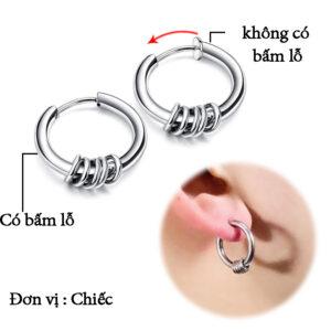Bông tai inox khoen tròn kpop thời trang Hàn Quốc