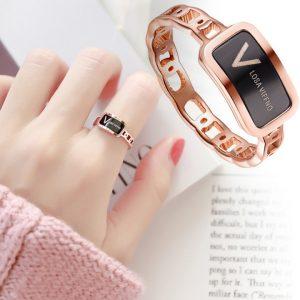 Nhẫn titan chữ V thời trang màu vàng hồng 14k