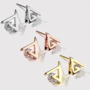 Bông tai titan hình tam giác kẹp hột thời trang