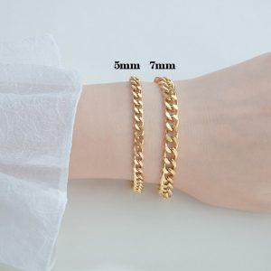 LN146a-Lắc tay titan inox nữ kiểu lặc 5mm và 7mm mạ vàng