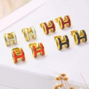 TB140a-Bông tai titan chữ H thời trang Hermes