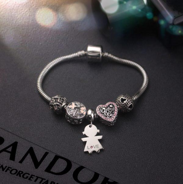 Lắc vòng tay titan phong cách Pandora TA323