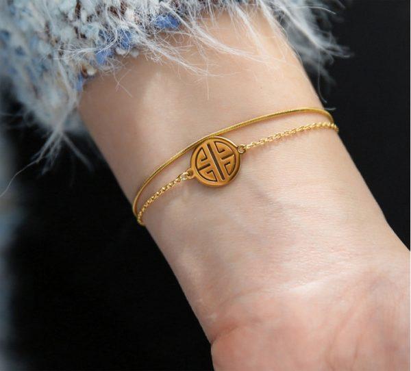 Lắc tay titan nữ 2 tầng chữ Phúc
