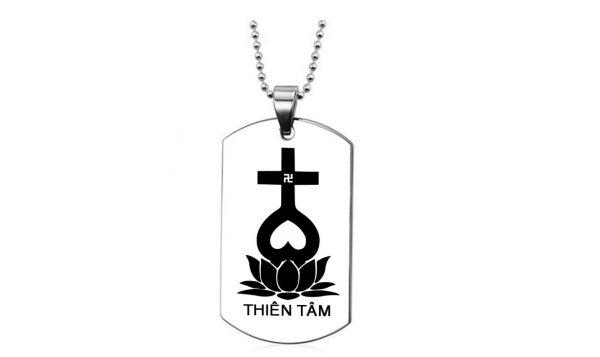 Dây chuyền titan thẻ bài khắc dấu thiên tâm